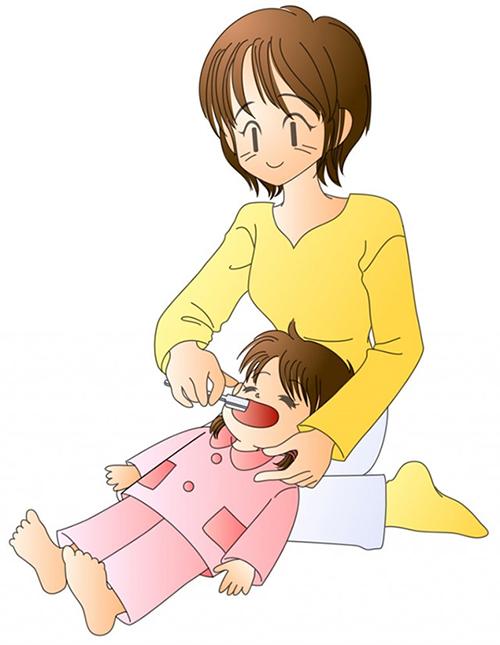 図 小さいお子さんの仕上げみがきは姿勢が大切