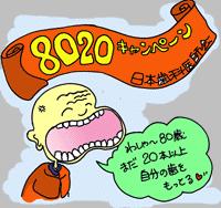日本歯科医師会では20歳で20本の歯を残そうという8020キャンペーンを展開しています