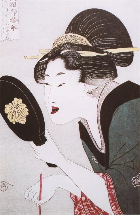 お歯黒を塗る女性 歌麿画